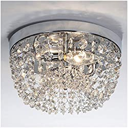 "GLANZHAUS Small Style 9.84"" Chrome Finish Clear Cystal Chandelier, 2-Light Flush Mount Ceiling Light For Hallway Bar Kitchen Dining Room Kids Room"