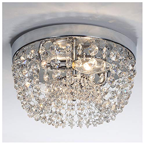 """GLANZHAUS Small Style 9.84"""" Chrome Finish Clear Cystal Chandelier, 2-Light Flush Mount Ceiling Light For Hallway Bar Kitchen Dining Room Kids Room"""