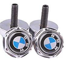 """Automelody ® 4Pcs Anti-Theft Front & Rear Chrome LICENSE PLATE FRAME Bolts Fasteners Screws For BMW + GIFT """"SWING"""" PACKING BAG (type2)"""