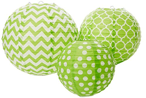 Amscan 248900.53/ACL Round Lantern Party Supplies, Assorted Size, kiwi]()