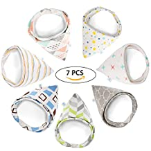 GHB 7-Pack Baby Bibs Bandana Drool Bibs Double-Layer 100% Organic Cotton with Adjustable Snaps Soft and Absorbent for Boys and Girls