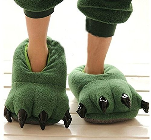 Thicken Warm Winter Slippers Dinosaur Claws Slippers Novelty Feet Costume for Men (US 8-12, Green) (Good Costumes For Men)