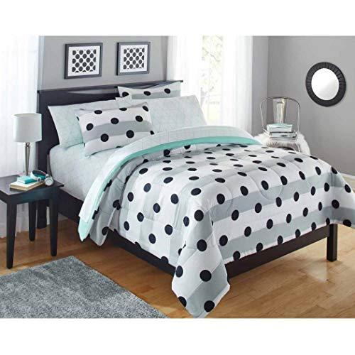 7pc Kids Grey White Stripes Black Polka Dot Queen Comforter