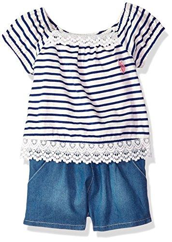U.S. Polo Assn. Girls' Toddler Romper, Stripes lace Trim Tencel Denim Classic Navy, 4T - Lace Trim Denim