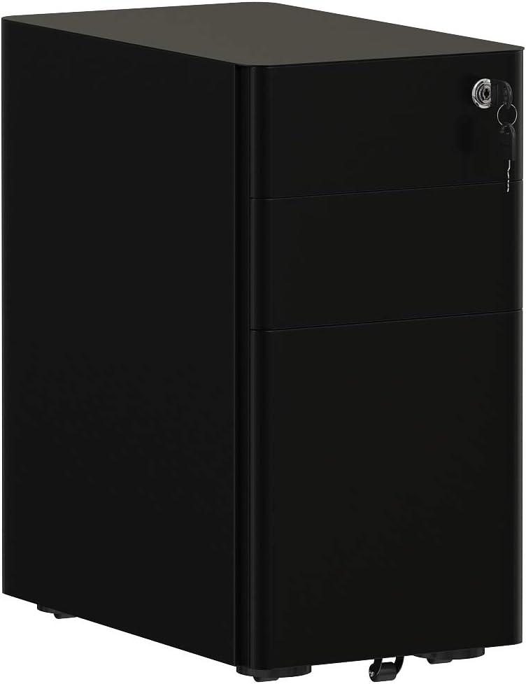 AMISEN 3-Drawer Slim Vertical File Cabinet, Fully Assembled Including Casters, Legal/Letter Size/A4, Black