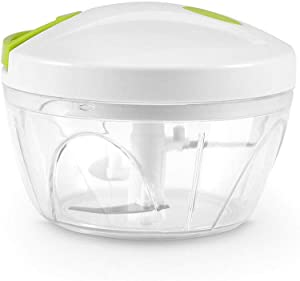 AKKAPEARY 500 ML Multi Functional Kitchen Mini Slicer Manual Vegetables Fruits Meat Food Processor Bowl Choppers Mincer Blender Mixer Dicer 4.9'' Pull String Home Hotel Restaurant Dishwasher Safe Dining Cooking Baking Tool Eco Friendly Holiday Gift