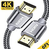 HDMI Cable,Capshi 4K HDMI 2.0 Cable Nylon Braided 6ft - (4K @ 60Hz) Ultra High Speed 18Gbps HDMI Cord Support Ethernet, Audio Return, Video 4K UHD 2160p, HD 1080p, 3D, PlayStation PS3 / 4 PC (Grey)