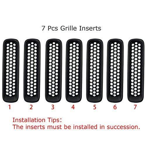 Matte Black Clip-in Front Grille Mesh Inserts for 2007-2015 Jeep JK Wrangler /& Wrangler Unlimited Pack of 7