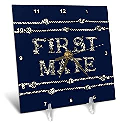 3dRose Russ Billington Nautical Designs - Knotted Rope and Text First Mate in Ivory Over Navy Blue - 6x6 Desk Clock (dc_291574_1)
