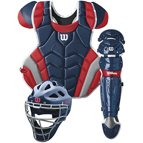 (Wilson C1K Catcher's Gear Kit, Navy/Scarlet)