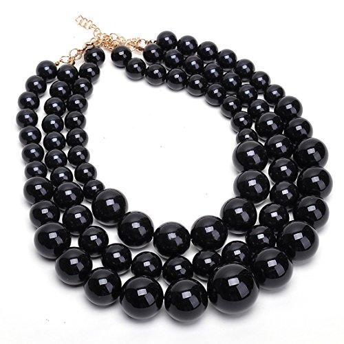 Fashion Strand Chain Black Big Resin Simulated Pearl Beads Collar Choker Statement Bib Necklace ()