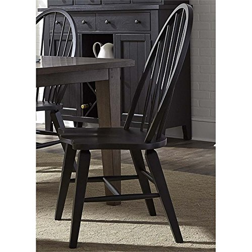 (Liberty Furniture Hearthstone Windsor Back Dining Side Chair in Black)