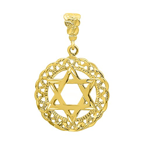 The Bling Factory Round 34mm Gold Plated Diamond-Cut Star of David Medallion Pendant + 20
