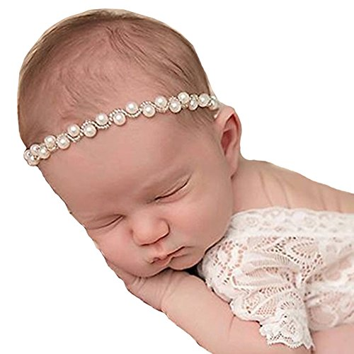 RQJ Baby Soft Rhinestone Elastic Headband Props Infant Pearl Headwrap Handcraft Halo Beaded Crystal Pearl Wreath with Diamante Flower Crown for Newborn
