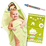 Ofir Babies Ultra Soft Organic Cotton Hooded Baby Bath Towel with Pacifier Clip, Burp Cloth and 2 eBooks