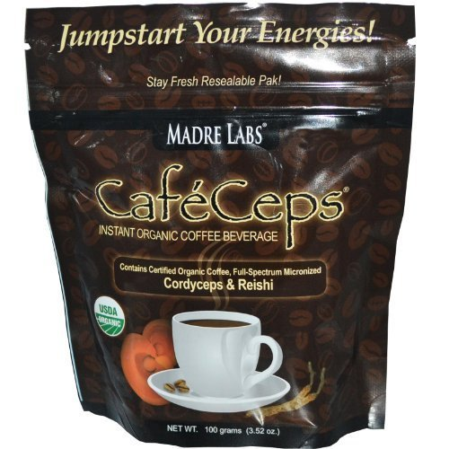 Madre Labs, CafeCeps, Instant Organic Coffee Beverage, Stay Fresh Re-Sealable Pak!, 3.52 oz (100 g) Pack Of 4 by CafeCeps (Lab Pak)