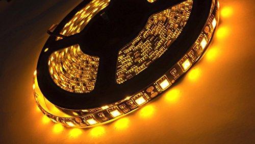 New LED4Everything (TM) Black PCB 5M 16.4ft 12v SMD Yellow 5050 IP65 Waterproof 300 LED Flexible Tape Strip Christmas Decoration Light
