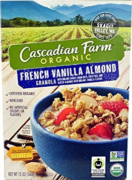 Cascadian Farms Organic Granola Cereal French Vanilla Almond -- 13 oz - 2 pc