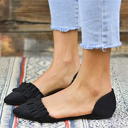 Clearance Swiusd Womens Ruffle Loafers Sandals Comfy Non Slip Flat Bottom Sandals Pointed Toe Retro Platform Beach Dance Shoes