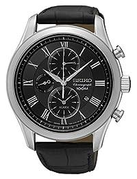 Seiko Men's SNAF71 Leather Strap Dress Chronograph Wrist Watch