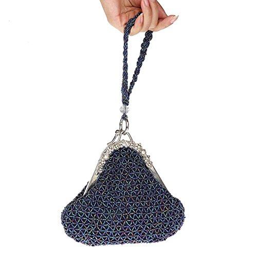 Damas Noche Cuentas Mujeres Las Azul Púrpura Embrague Bolsos Para Carteras Con De Flada Diamantes Imitación ZqB7F