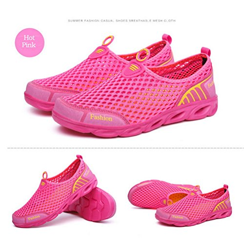 Mens Womens Breathable Sneakers for Summer Ladies Trainers Mesh Slip On Water Shoes HotPink Vm9M8I8Rx