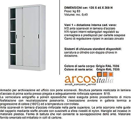 Arcos Italia - Armario metálico archivador de 120 x 45 x 200 puertas correderas con cerradura. Fabricado en Italia.: Amazon.es: Hogar