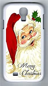Galaxy S4 Case, Personalized Protective Hard PC White Edge Santa Claus02 Case Cover for Samsung Galaxy S4