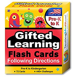 TestingMom.com Gifted Learning Flash Cards – Following Directions for Pre-K – Kindergarten – Educational Practice for CogAT Test, Iowa Test (ITBS), OLSAT Test, NYC Gifted and Talented, WPPSI, AABL