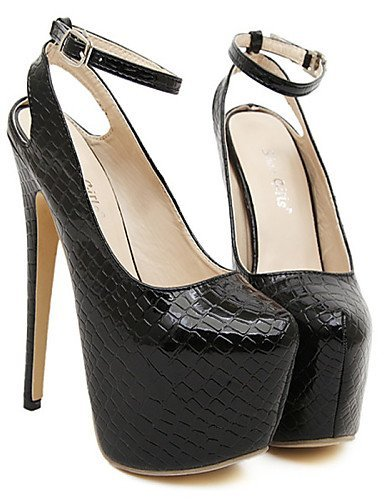 ShangYi Womens Shoes Stiletto Heel Wedges/Round Toe Heels Casual Black/White White