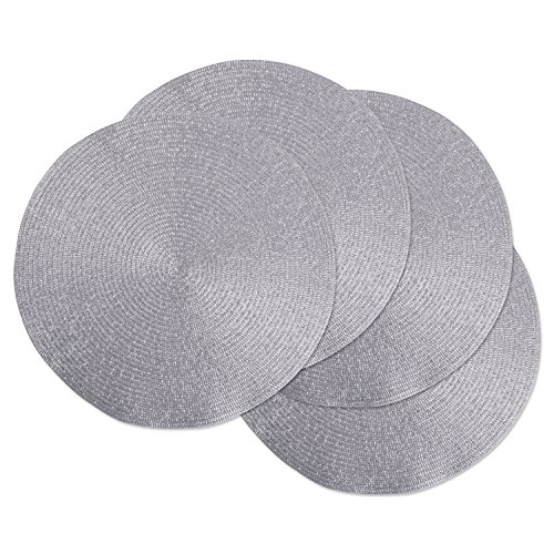 DII Round Braided & Woven, Indoor/Outdoor Placemat or Charger, Set of 4, Platinum Silver (For Christmas Placemats)