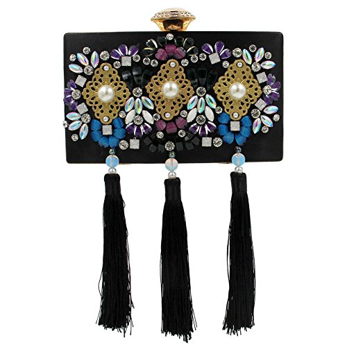 Shoulder Black Tassel Velvet Evening MSFS Women Dress Out Party Rhinestone Wedding Clutch Handbag Z7Svq