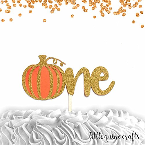 1 pc One pumpkin cake topper gold glitter orange halloween theme first birthday boy girl fall autumn party