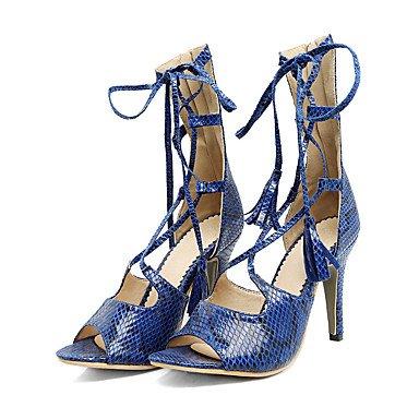 Talones de las mujeres Primavera Verano Otoño Otro de cuero oficina y carrera vestido casual estilete del talón con cordones Azul Blanco Beige almendra Beige