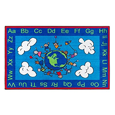 "Flagship Carpets CE189-28W Happy World Rug, Promotes Acceptance with Cheerful Friends of Diverse Backgrounds, 5' x 8', 60"" Length, 96"" Width, Blue/Multi-Color"