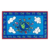 Flagship Carpets CE189-16W Happy World Rug, Promotes Acceptance with Cheerful Friends of Diverse Backgrounds, 3' x 5', 36'' Length, 60'' Width, Blue/Multi-Color