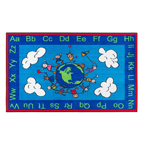 Flagship Carpets CE189-16W Happy World Rug, Promotes Acceptance with Cheerful Friends of Diverse Backgrounds, 3' x 5', 36