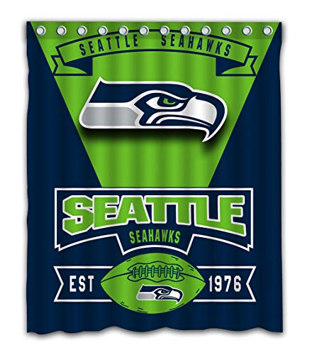 (Weckim Custom Seattle Football Team Waterproof Fabric Shower Curtain Colorful Design for Bathroom Decoration Size 60x72 Inches)
