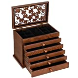 SONGMICS Large Jewelry Organizer Wooden Storage Box 6 Layers Case with 5 Drawers, Dark Brown UJOW56W