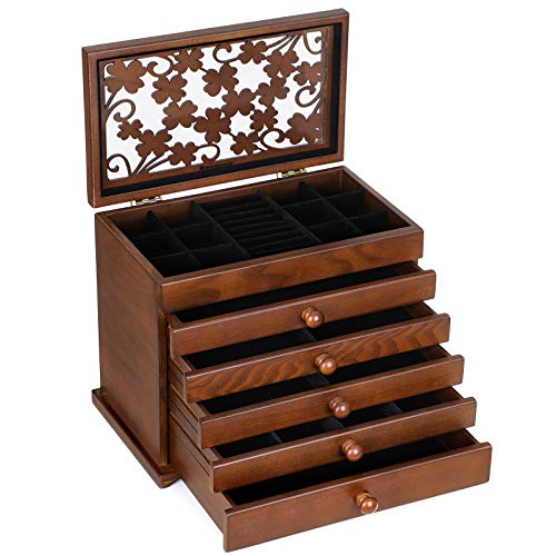 SONGMICS Large Jewelry Organizer Wooden Storage Box 6 Layers Case with 5 Drawers, Dark Brown UJOW56W ()
