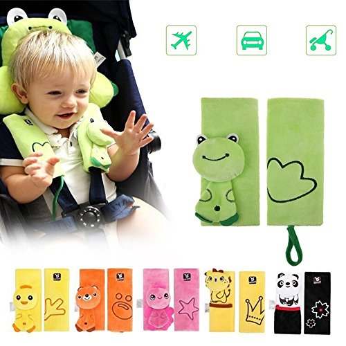 (Double Sided Cartoon Animal Soft Seatbelt Strap Cover for Kids Infant Seat Belt Pad for Baby Carriage Car (Green Frog))