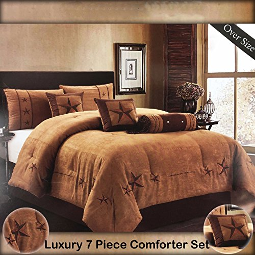 Western Peak Oversize Embroidery Texas Western Lone Star Micro Suede Comforter Bedding 7 Piece Set Shams Bed Skirt (Oversize Queen, Taupe Brown) (Suede Bedskirt)