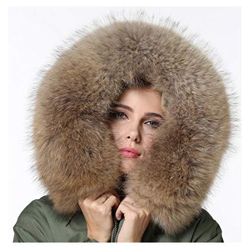 Melody Women's Luxurious Raccoon Fur Collar Hooded Long Coat Parkas Outwear Rabbit Fur Lining Winter Jacket (Fur Collar, Natural Fur)