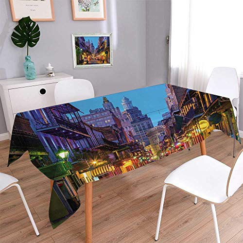 - PINAFORE HOME Harmony Scroll Tablecloth Pubs and Bars with neon Lights in The French qu er New Orleans USA Summer & Outdoor Picnics/Square, 55 x 55 Inch