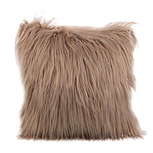 iLUGU Plush Furry Throw Pillow Case Home Bed Room Sofa Decor Multicolor Plush +Suede Fabric Cushion Cover 18X18
