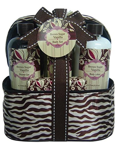 Luxury Bath & Body Spa Gift Set - Brown Sugar Vanilla Bath Sponge, Body Lotion, Shower Gel Body Splash and Zippered Carry Pouch