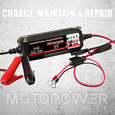 MOTOPOWER MP00207 6V / 12V 4AMP Automatic Smart Battery Charger Maintainer with Battery Repair Mode: Automotive
