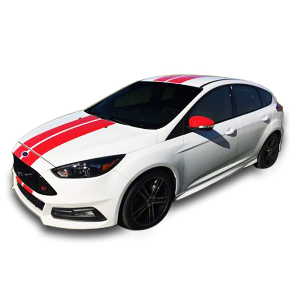 Amazon com bubbles designs decal sticker graphic front to back stripe kit compatible with ford focus st rs 3rd generation automotive
