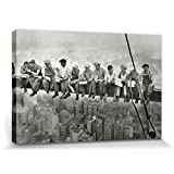 New York Stretched Canvas Print - Lunchtime Atop A Skyscraper, 1932 (47 x 32 inches)