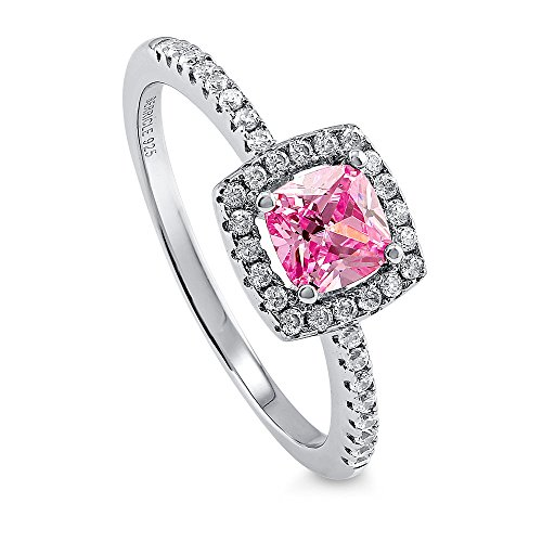 Tw Pink Cushion Cut Ring - BERRICLE Rhodium Plated Sterling Silver Pink Cushion Cut Cubic Zirconia CZ Halo Promise Engagement Ring 0.78 CTW Size 6